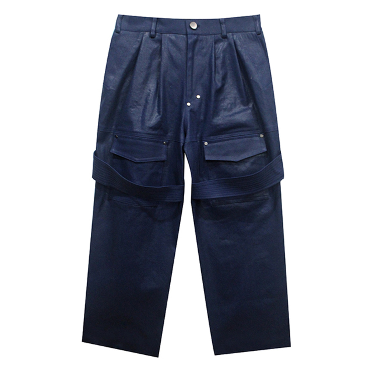 BLUE COATED WIDE CARROT PANTS