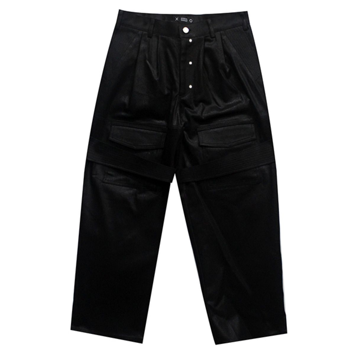 BLACK COATED CRASHED PANTS