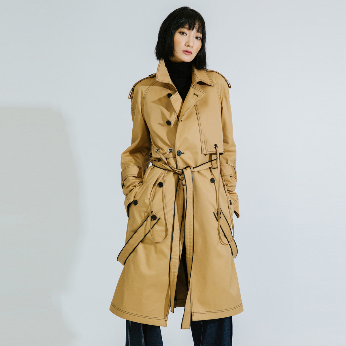 BTD ZIP DETAILED TRENCH COAT