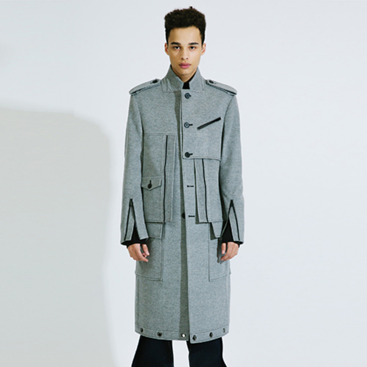 GREY PLACKET WOOL CASHMERE COAT