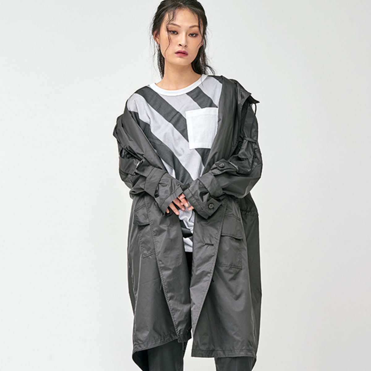 OVERSIZED CUFFS HOODED COAT