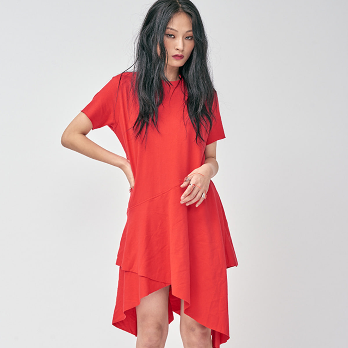 RED ASYMMETRY DRESS