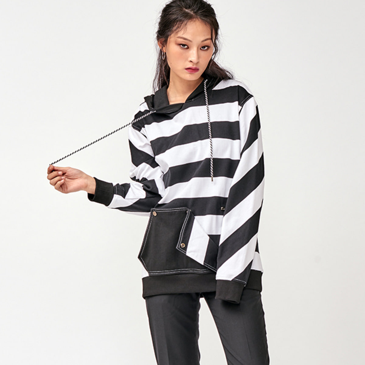 PRISONER STRIPED HOODY
