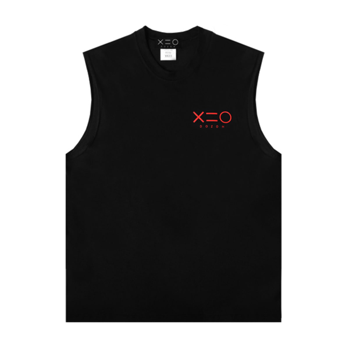 BLACK DOZOH RED LOGO SLEEVELESS T-SHIRTS