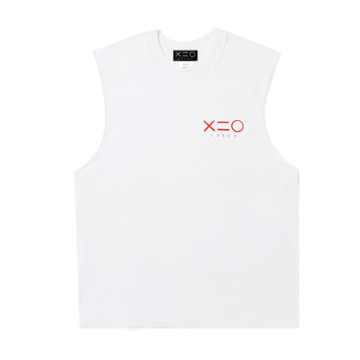 WHITE DOZOH RED LOGO SLEEVELESS T-SHIRTS