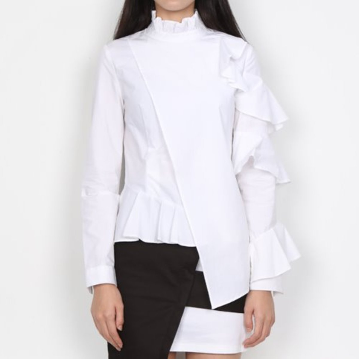 WHITE ASYMMETRY RUFFLE BLOUSE