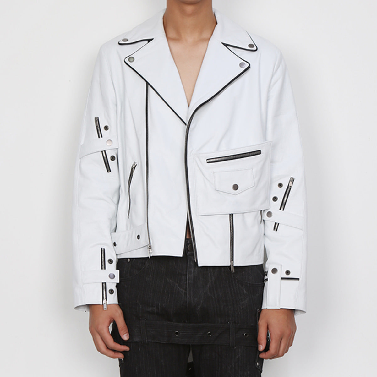 WHITE MF LAMBS-LEATHER RIDER JACKET