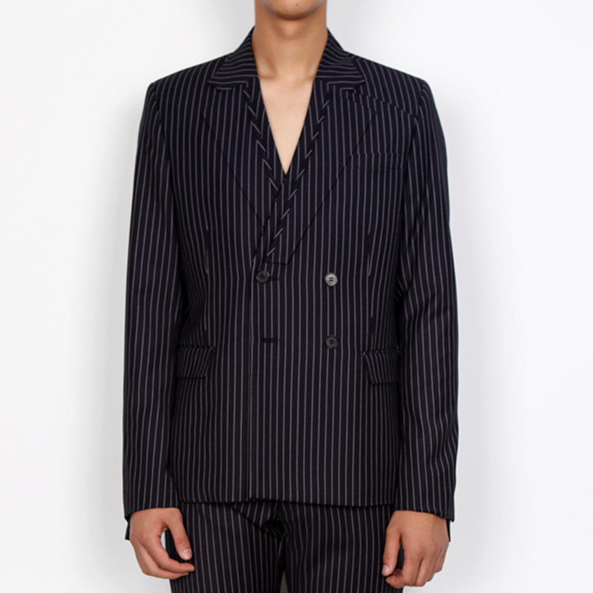 PIN STRIPED DOUBLE BLAZER JACKET