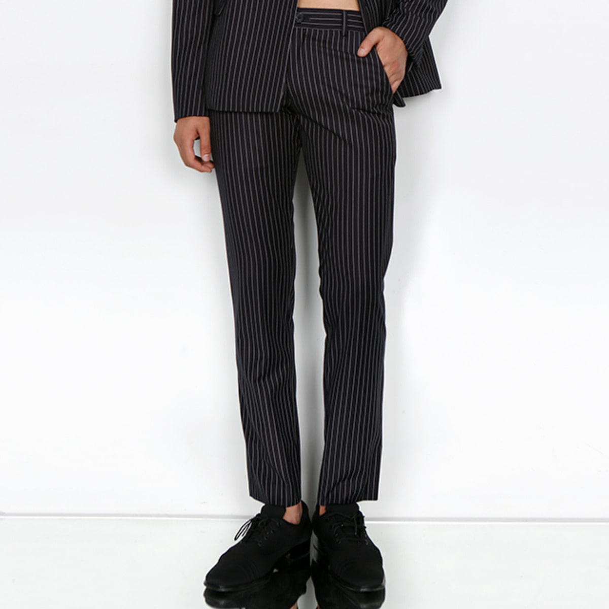 NAVY PIN-STRIPED SLIM TROUSER