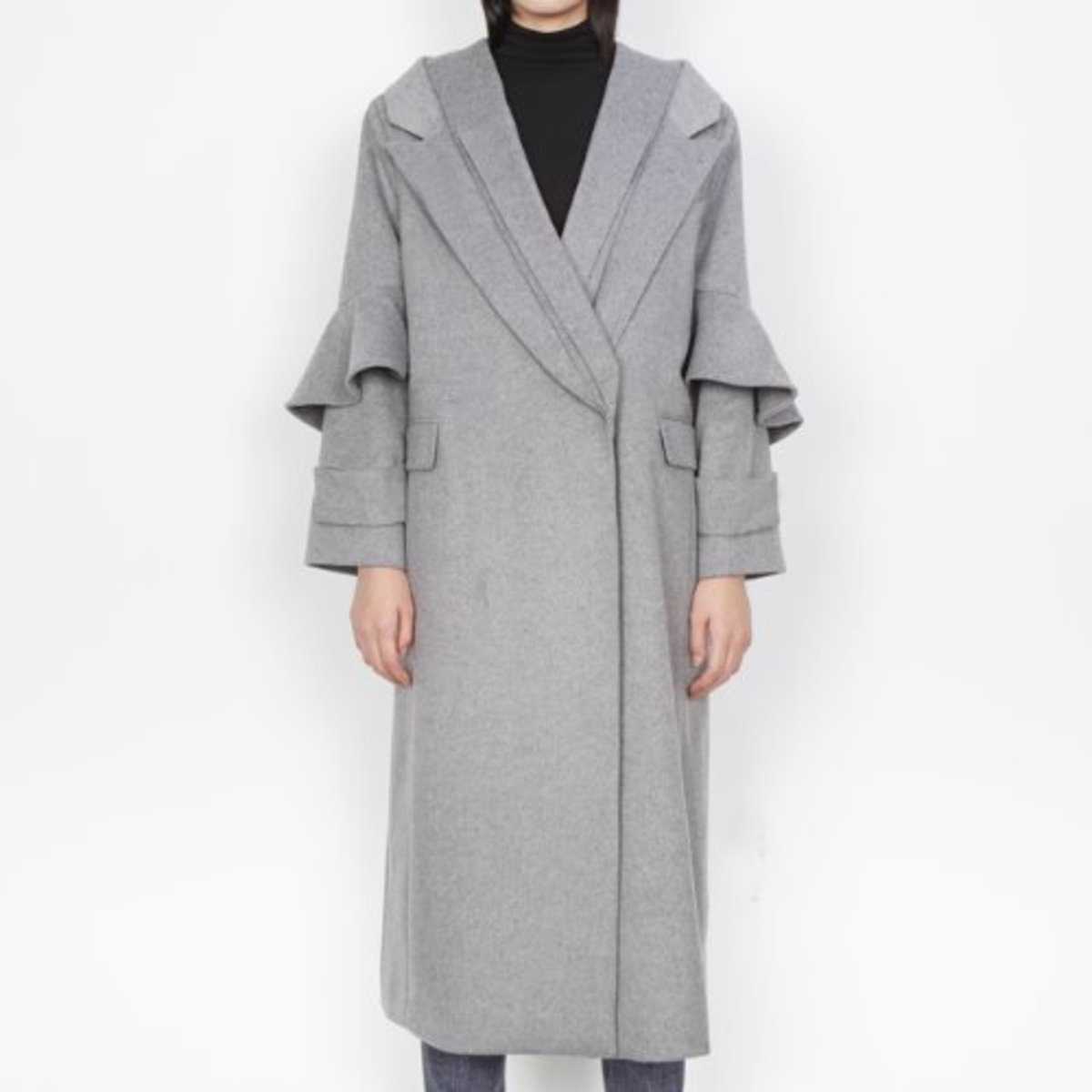 DOUBLE LAPEL WOOL CASHMERE COAT