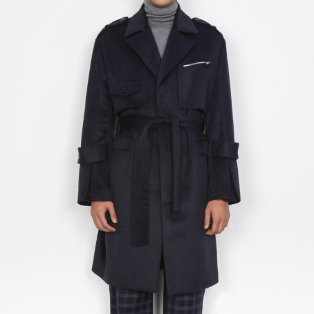 NAVY PLACKET WOOL CASHMERE COAT