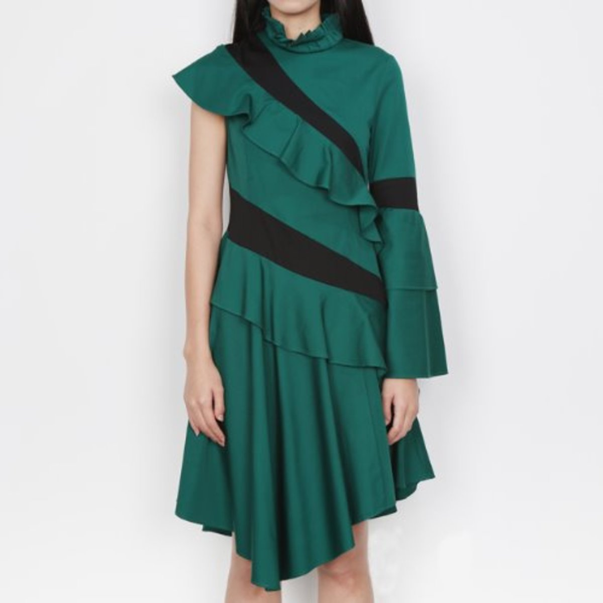 GREEN ASYMMETRY DRESS