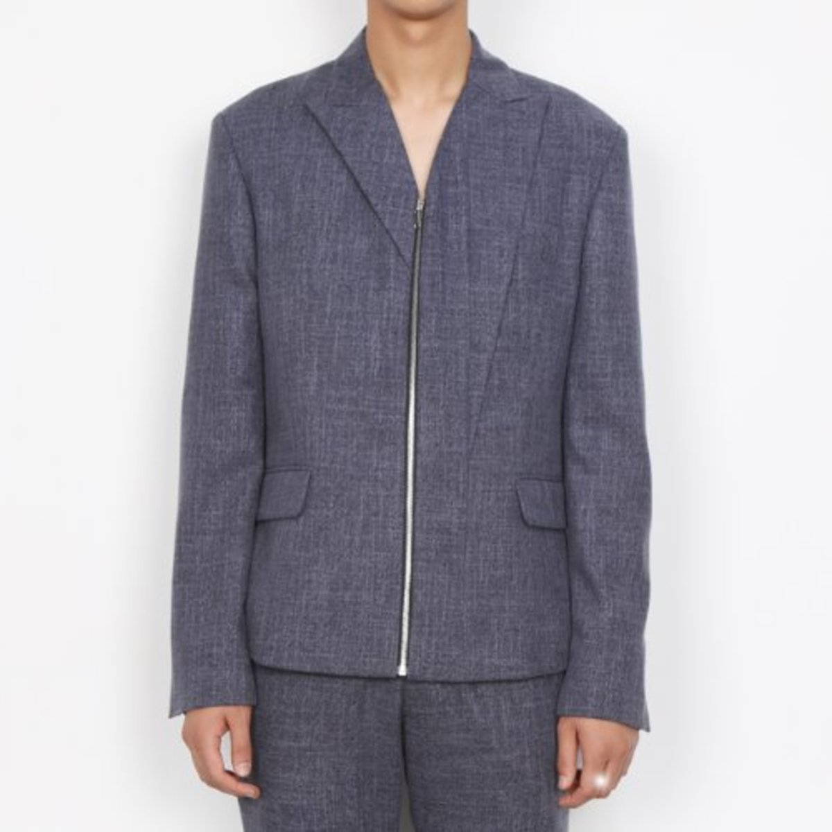 BLUE ASYMMETRY LAPEL ZIP UP BLAZER JACKET