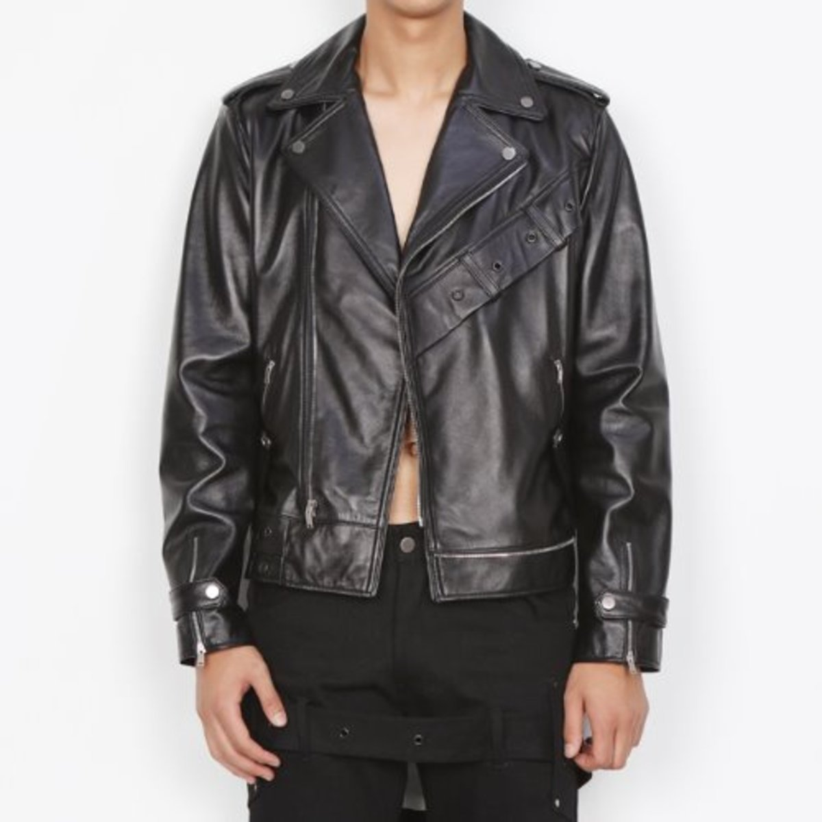 BLACK BELT DETAILED LAMBS-LEATHER RIDER JACKET