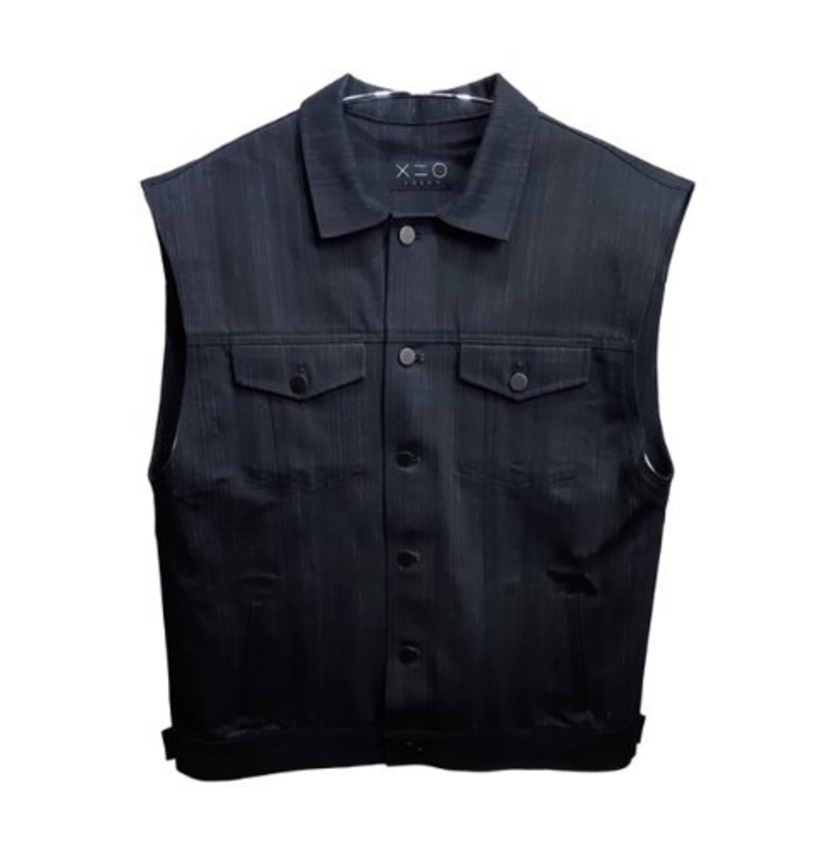 BLACK TRUCKER VEST JACKET