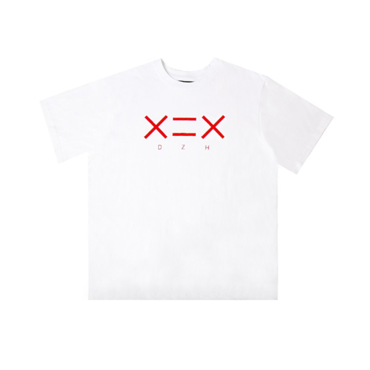 WHITE DZH F/RED LOGO T-SHIRTS