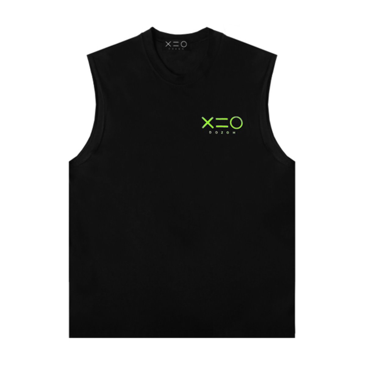 BLACK DOZOH APPLE GREEN LOGO SLEEVELESS T-SHIRTS