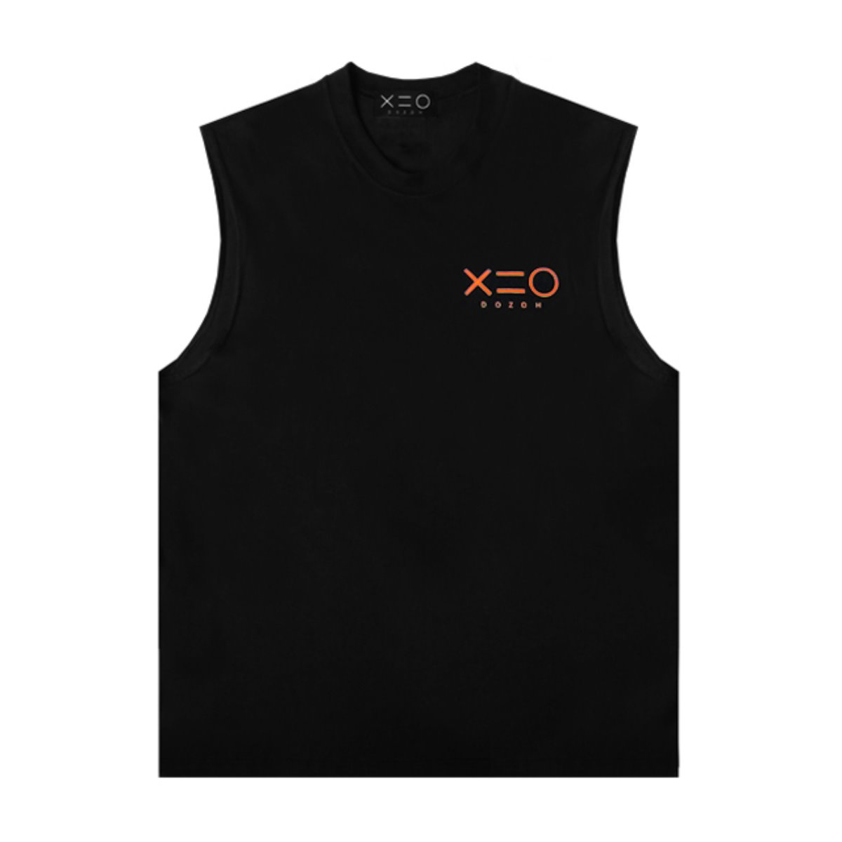 BLACK DOZOH ORANGE LOGO SLEEVELESS T-SHIRTS