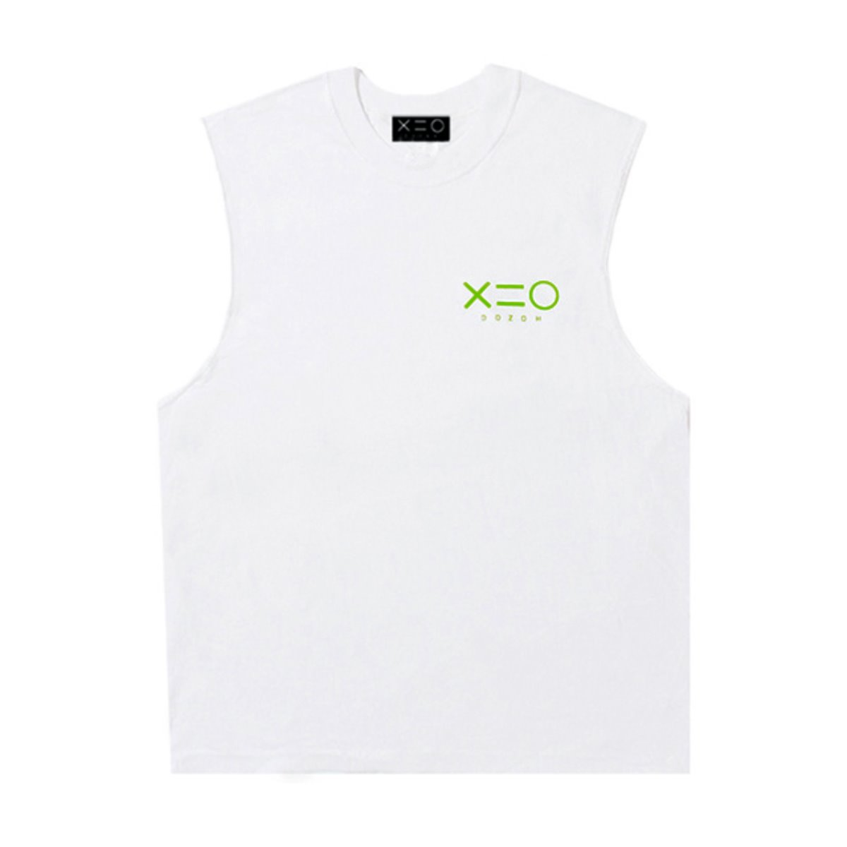 WHITE DOZOH APPLE GREEN LOGO SLEEVELESS T-SHIRTS