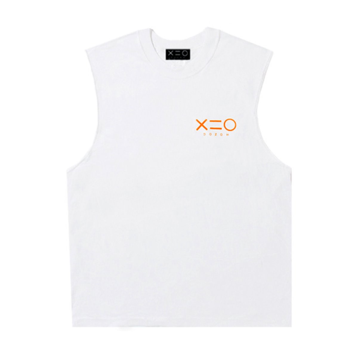 WHITE DOZOH ORANGE LOGO SLEEVELESS T-SHIRTS
