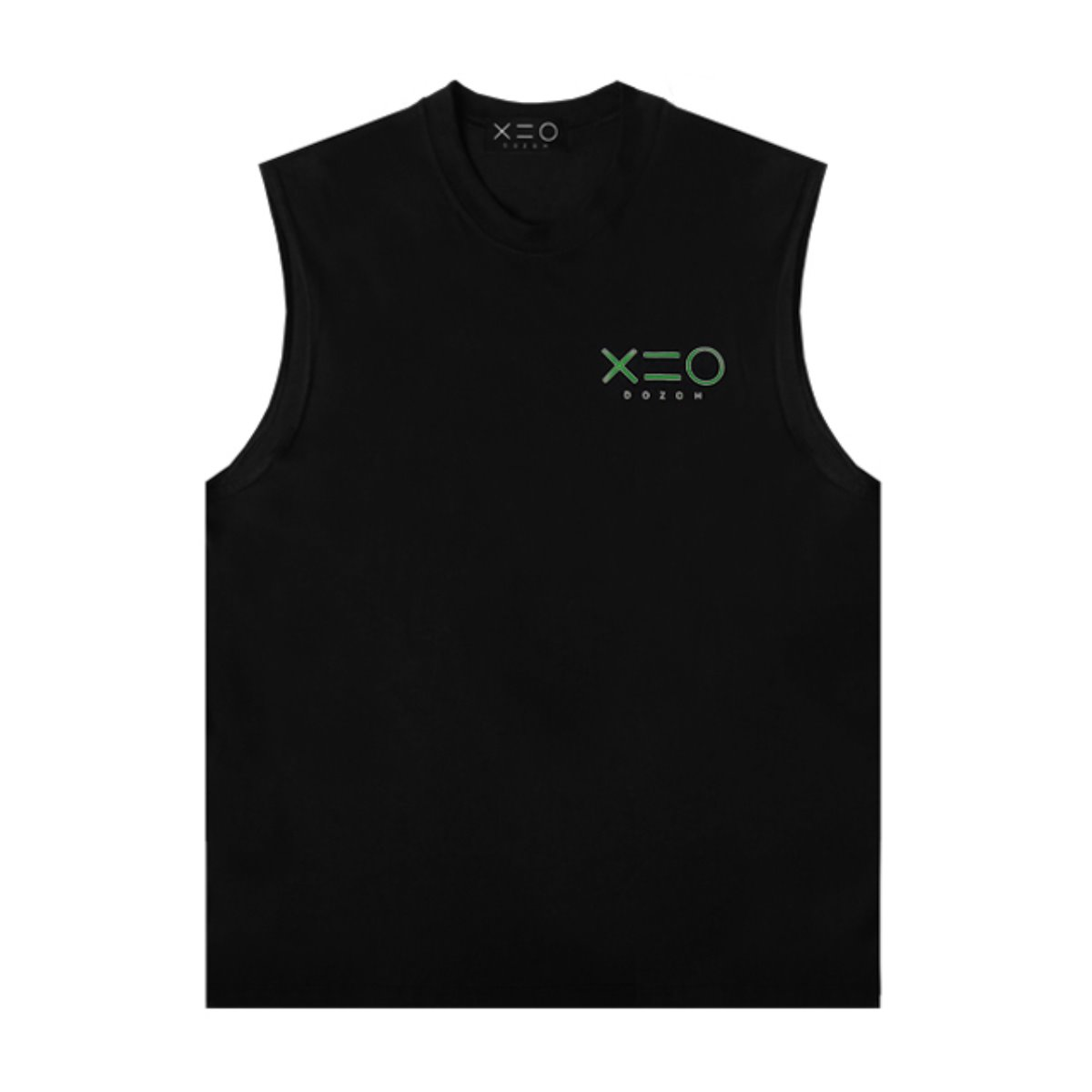 BLACK DOZOH GREEN LOGO SLEEVELESS T-SHIRTS