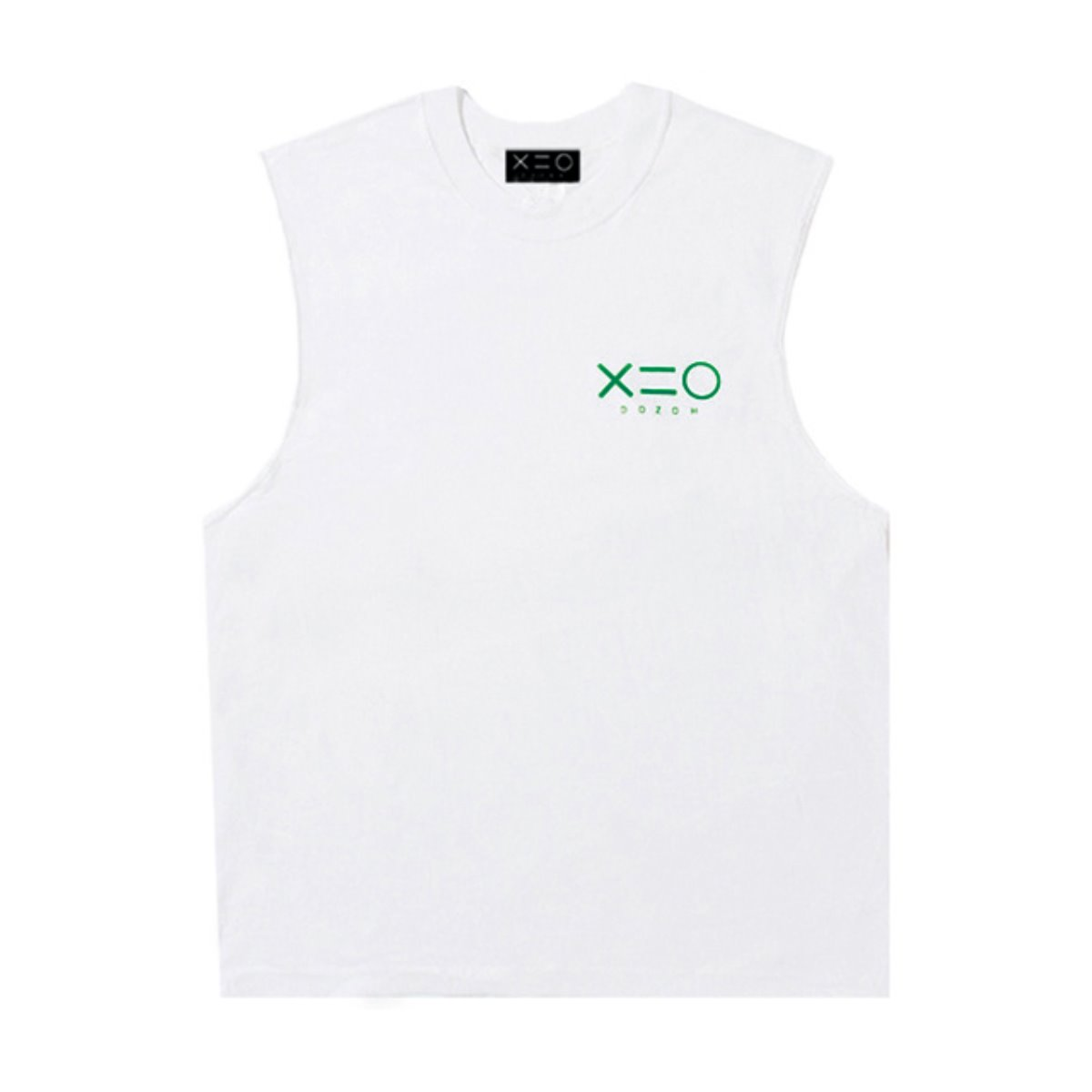 WHITE DOZOH GREEN LOGO SLEEVELESS T-SHIRTS