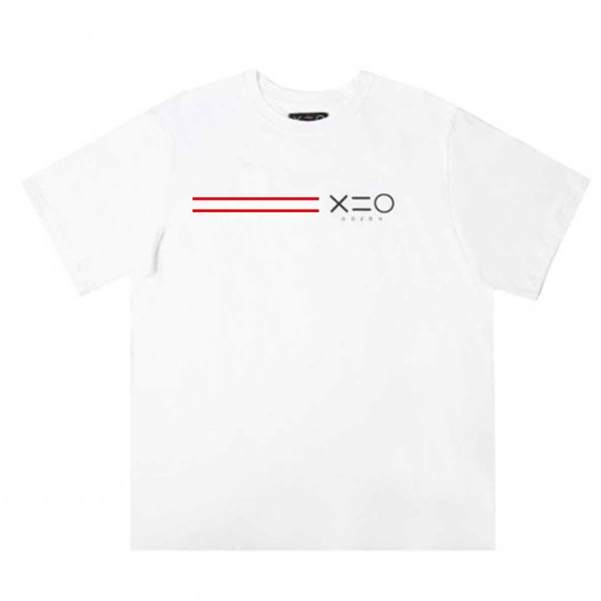WHITE DOZOH RED/BK EQUAL LINE&LOGO T-SHIRTS