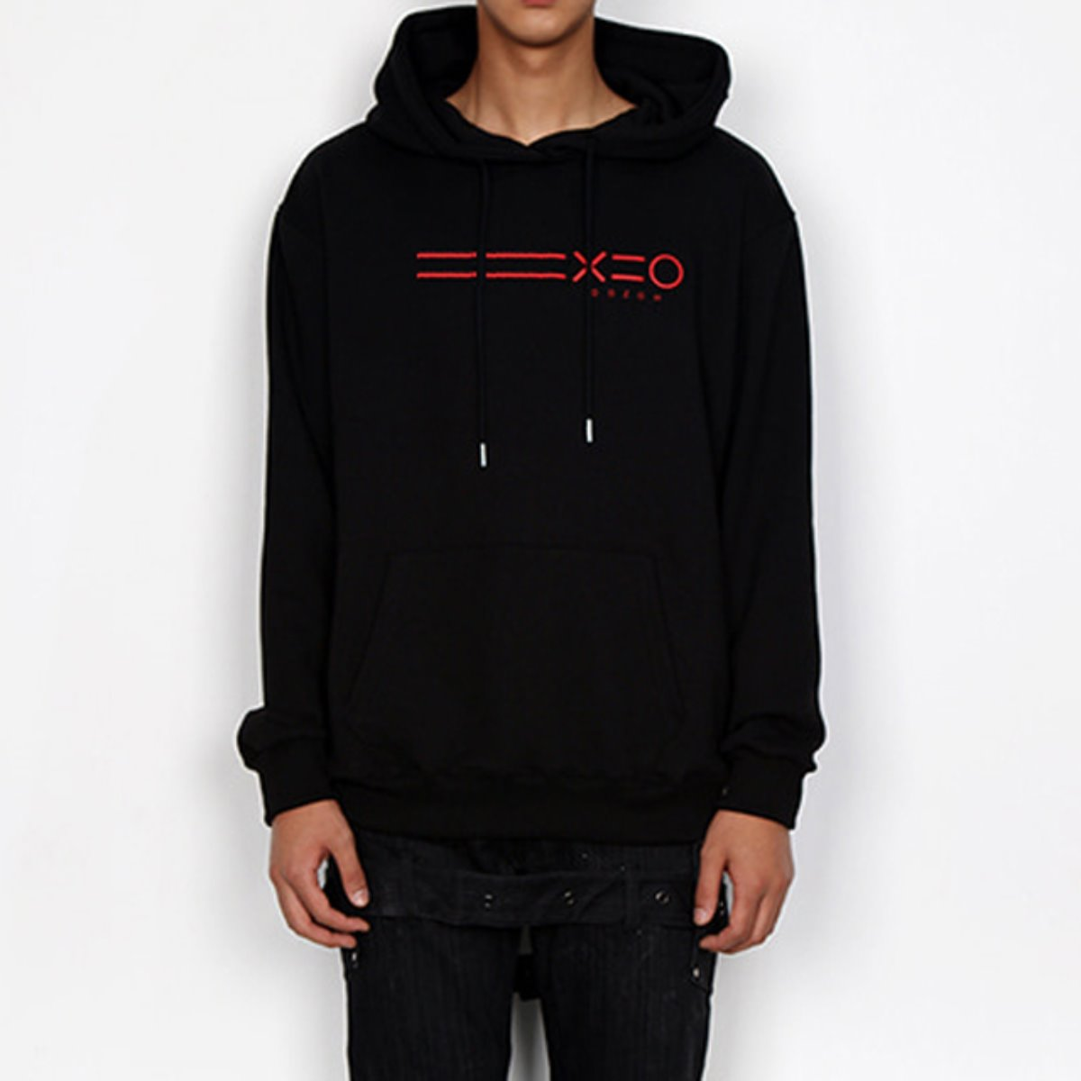 RED EQUAL LINE & LOGO HOODIE SWEATSHIRTS(BLACK)
