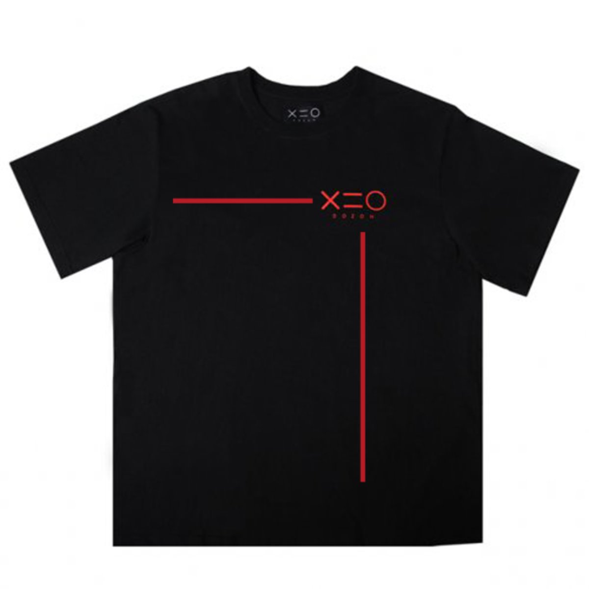 BLACK DOZOH RED LINE&LOGO T-SHIRTS