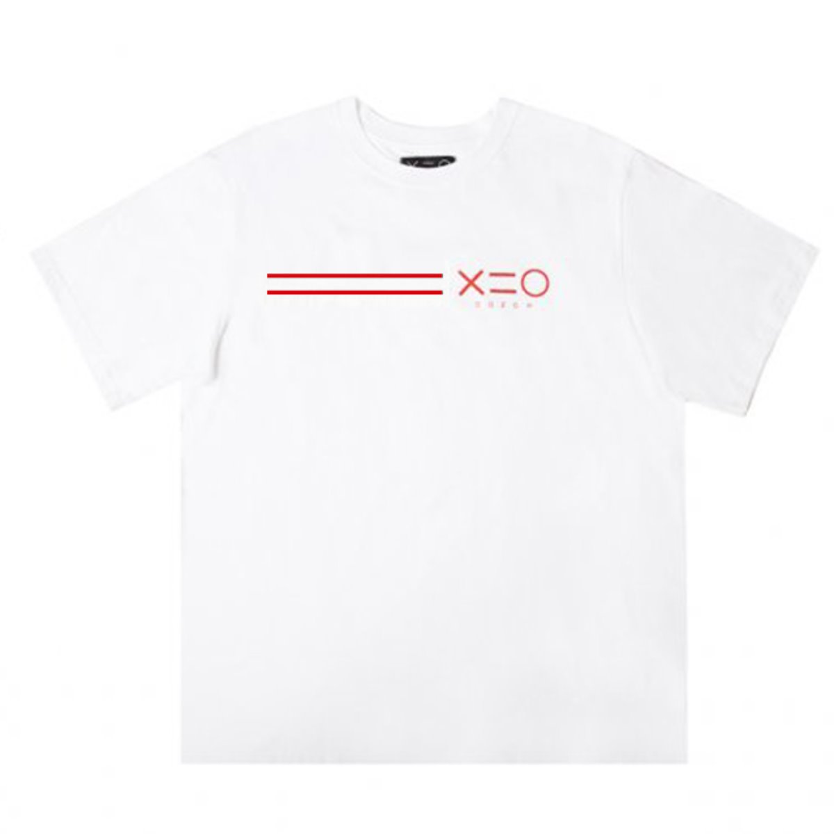 WHITE DOZOH RED EQUAL LINE&LOGO T-SHIRTS