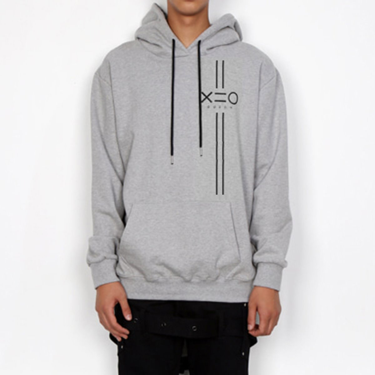 BLACK EQUAL V LINE & LOGO HOODIE SWEATSHIRTS(GREY)