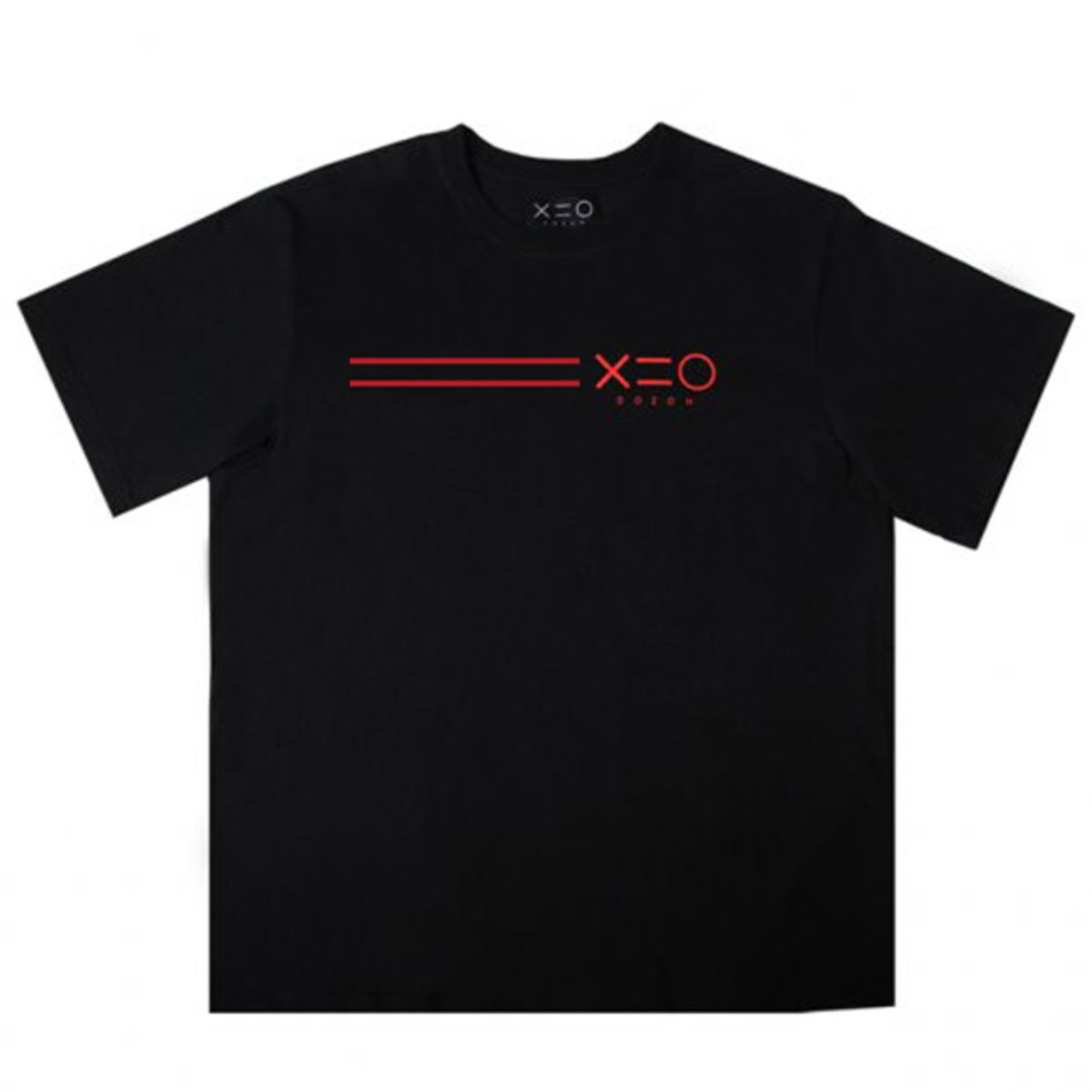BLACK DOZOH RED EQUAL LINE&LOGO T-SHIRTS