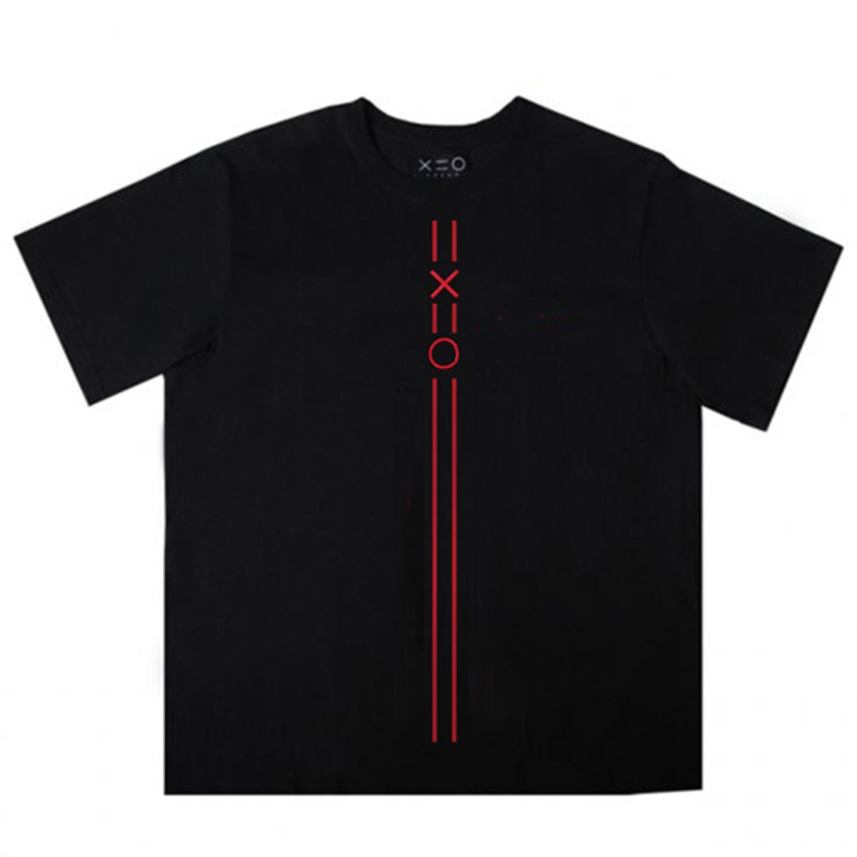 BLACK DOZOH RED EQUAL V LINE&LOGO T-SHIRTS 2