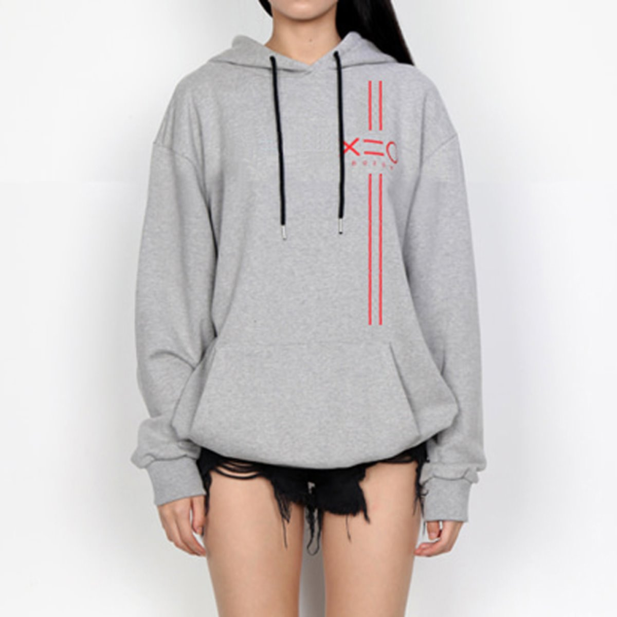 RED EQUAL V LINE & LOGO HOODIE SWEATSHIRTS(GREY)
