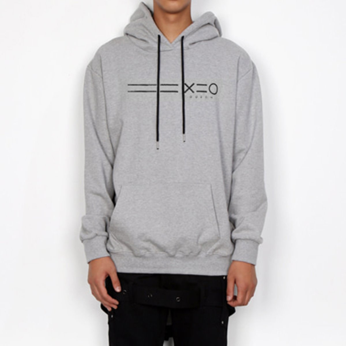BLACK EQUAL LINE & LOGO HOODIE SWEATSHIRTS(GREY)