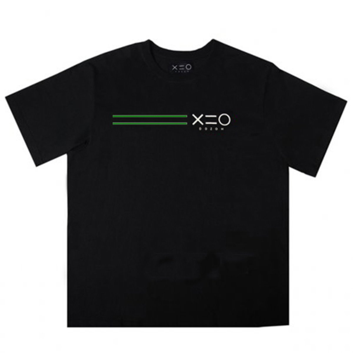 BLACK DOZOH GREEN/WH EQUAL LINE&LOGO T-SHIRTS