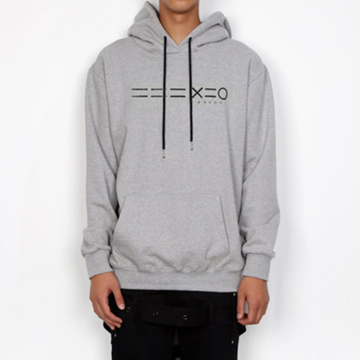 BLACK 3 EQUAL LINE & LOGO HOODIE SWEATSHIRTS(GREY)