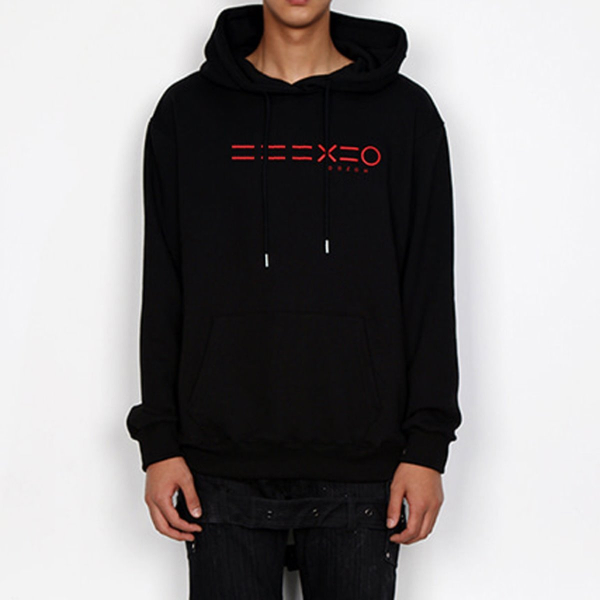 RED 3 EQUAL LINE & LOGO HOODIE SWEATSHIRTS(BLACK)