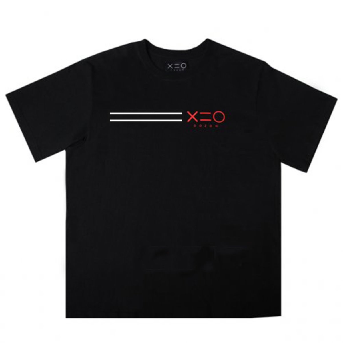 BLACK DOZOH WH/RED EQUAL LINE&LOGO T-SHIRTS