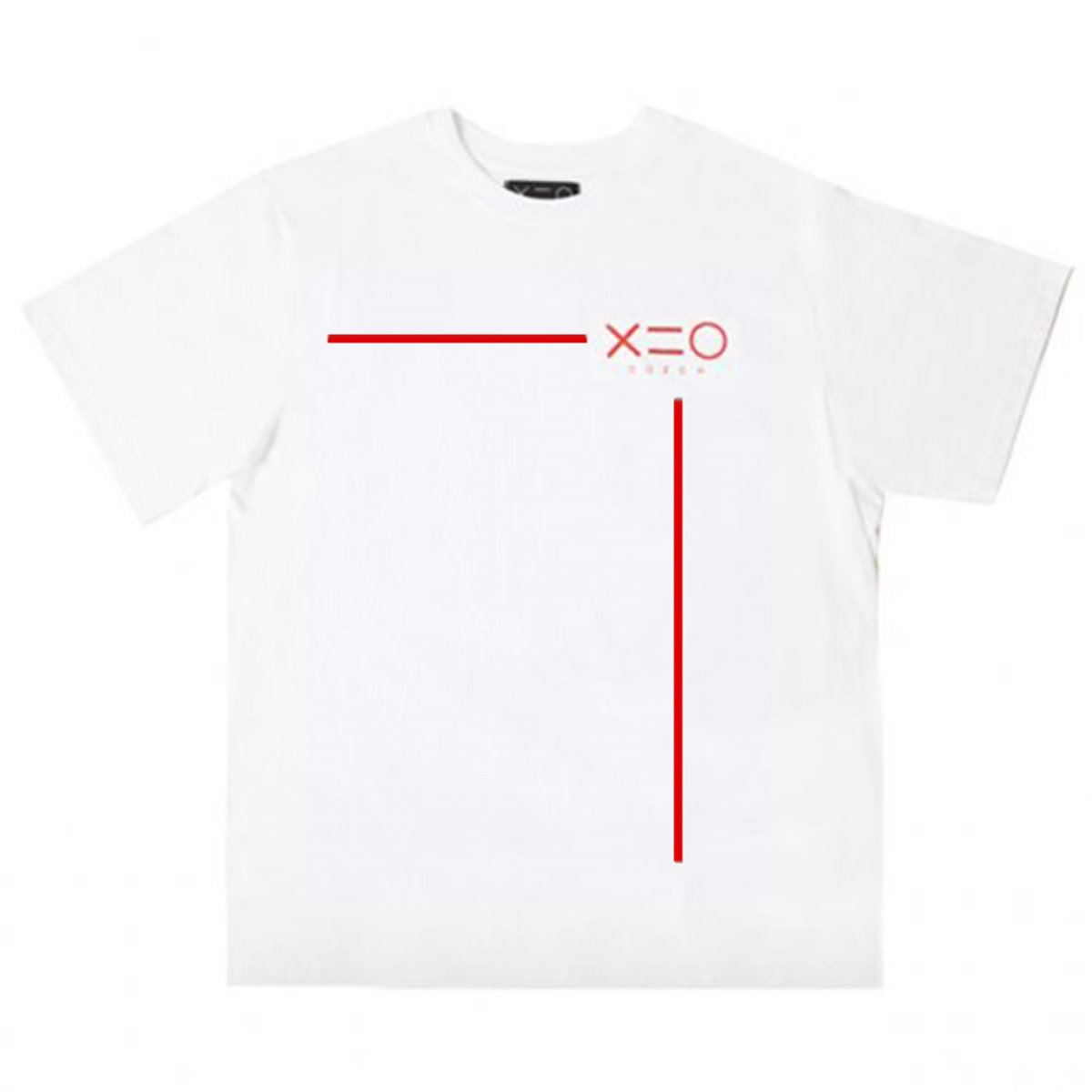 WHITE DOZOH RED LINE&LOGO T-SHIRTS