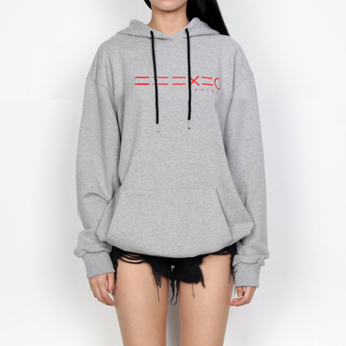 RED 3 EQUAL LINE & LOGO HOODIE SWEATSHIRTS(GREY)