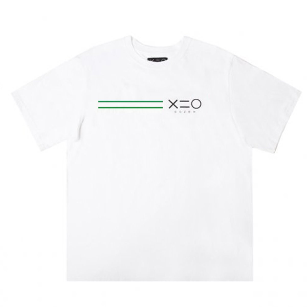 WHITE DOZOH GREEN/BK EQUAL LINE&LOGO T-SHIRTS