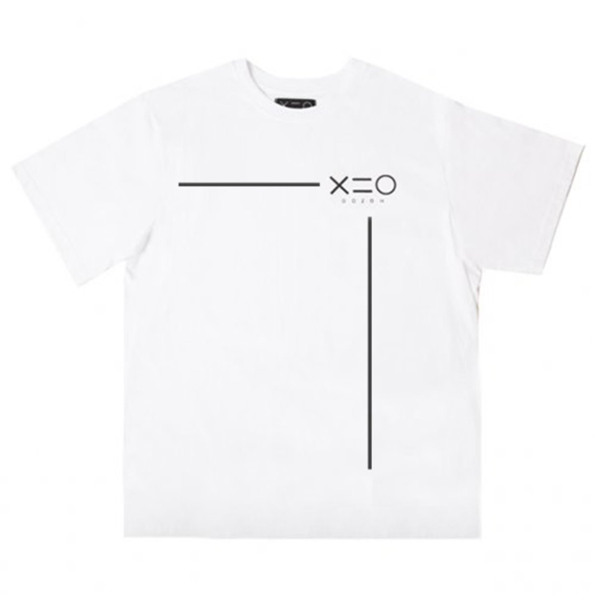 WHITE DOZOH BLACK LINE&LOGO T-SHIRTS