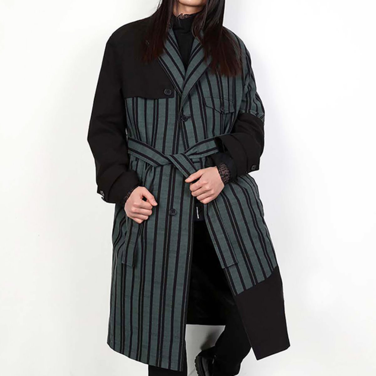 OVERSIZED PATCHED STRIPED COAT (DZFW19_OT_CT04)