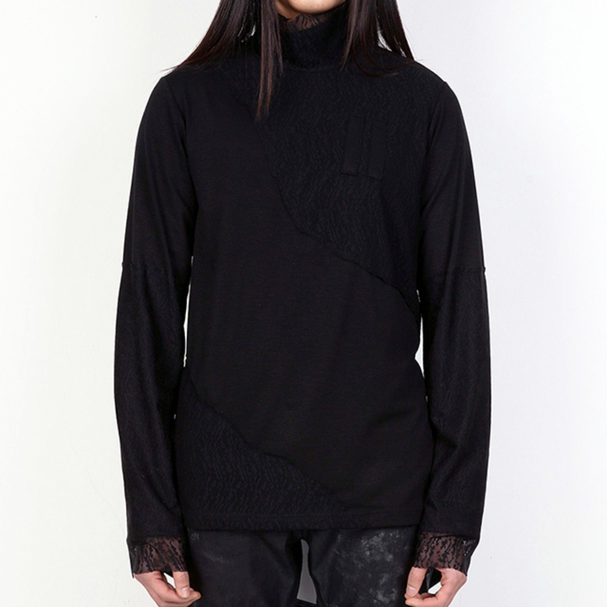 BLACK INFECTED EQUAL LACE SWEATSHIRTS (DZFW19_TP04)